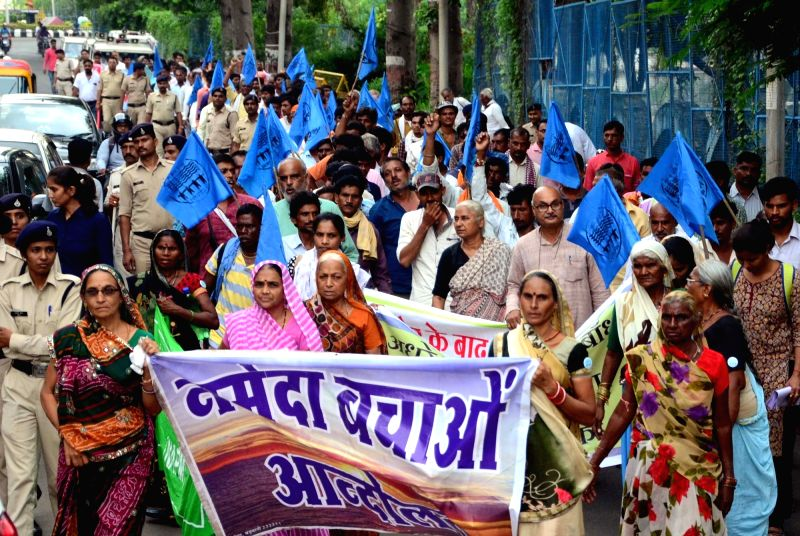 Social activist Medha Patkar during 'Sajha Sammelan' led by different political parties and Narmada Bachao Andolan (NBA) rally at Gandhi Bhawan in Bhopal on Sept 13, 2017.