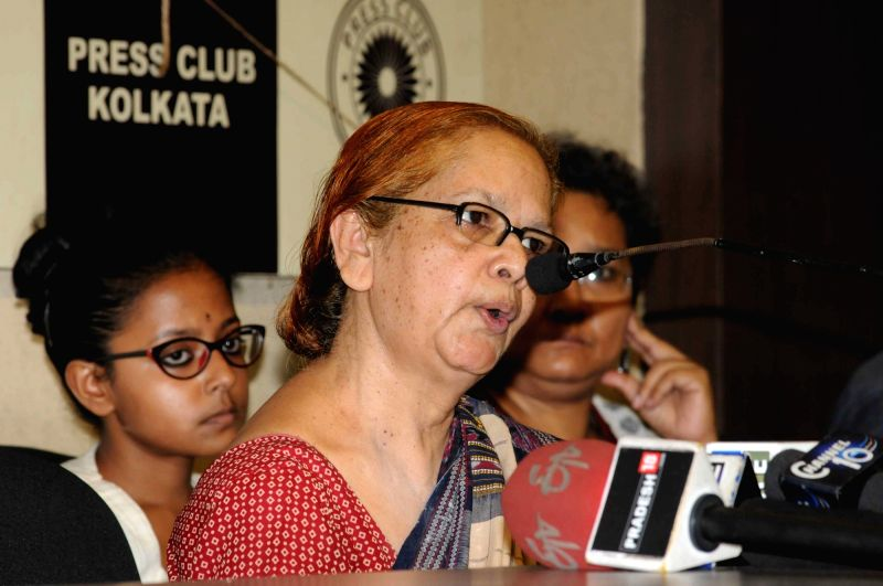 "Social activist Miratun Nahar addresses a press conference regarding tension over screening ""Buddha in a Traffic Jam"" at Jadavpur University in Kolkata, on May 11, 2016."