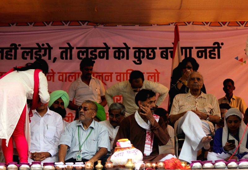 Social activists and Swaraj Samvad leader Yogendra Yadav during a demonstration at Jantar Mantar on Aug 10, 2015. - Yogendra Yadav