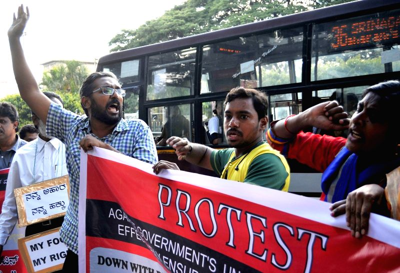Social Democratic Party of India (SDPI) activists stage a demonstration against Union government's order banning sale of cattle to slaughter houses in Bengaluru on June 2, 2017.