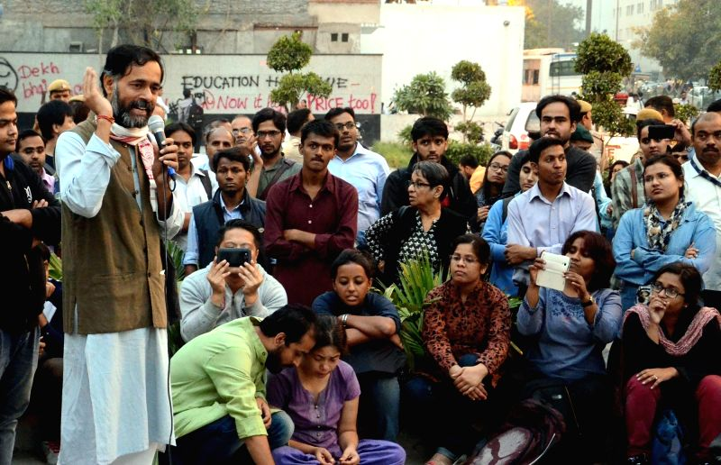 Social scientist Yogendra Yadav addresses to the students with his support during their protest near University Grants Commission (UGC) in New Delhi, on Oct 29, 2015. - Yogendra Yadav