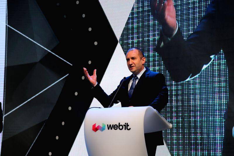 SOFIA, April 25, 2017 - Bulgaria's President Rumen Radev addresses the opening ceremony of Webit Festival Europe in Sofia, capital of Bulgaria, on April 25, 2017. Webit Festival Europe, one of the ...