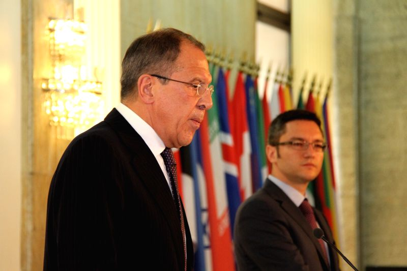 Russian Foreign Minister Sergey Lavrov (L) and his Bulgarian counterpart Kristian Vigenin attend a joint press conference in Sofia, Bulgaria, July 7, 2014. Sergey ...