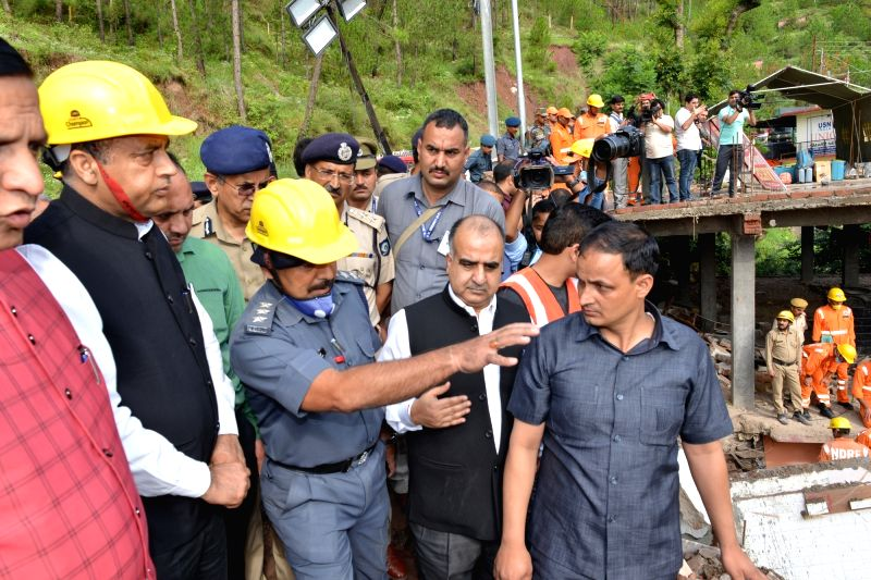 Solan: Himachal Pradesh Chief Minister Jai Ram Thakur visits the site of a building collapse, to monitor the rescue operations, at Kumarhatti in Solan district on July 15, 2019. Eleven soldiers and a civilian were killed and 28 others rescued after a