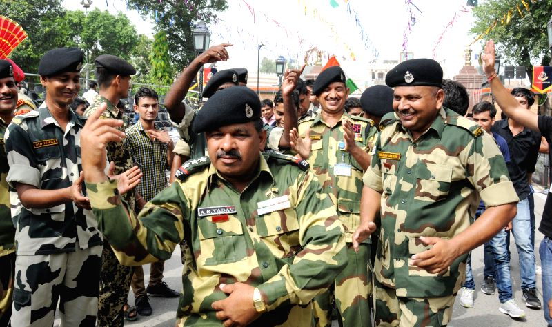 Soldiers during Independence Day celebrations near Indo-Pak border in Attari of Punjab's Amritsar district on Aug 15, 2014.