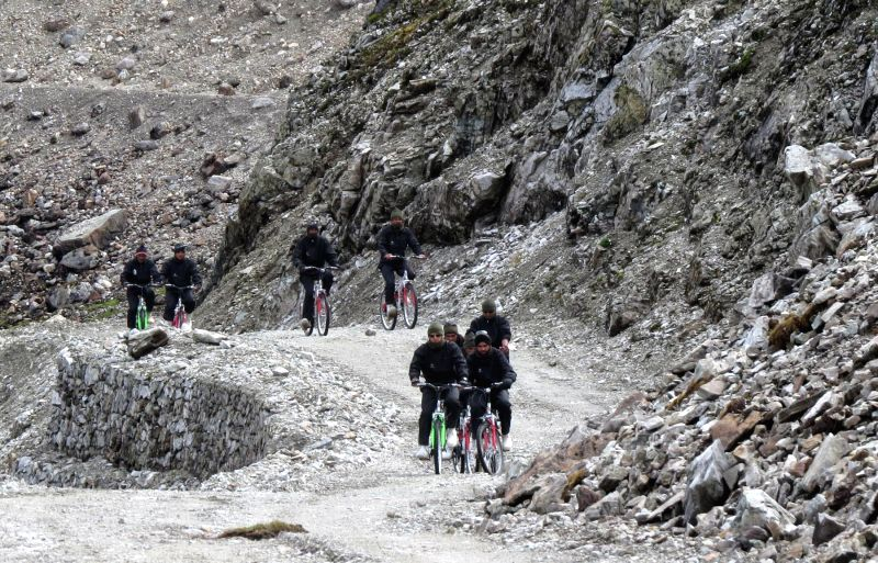 Soldiers from the Lightning Streaks Battalion led by Captain Thakur on a 700 km pedalling expedition across the Great Himalayan Range along the Indo-China border. The expedition set out from ... - Thakur