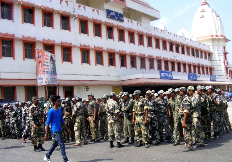 Soldiers of para-military forces arrive at Varanasi railway station ahead of the 9th phase of 2014 Lok Sabha polls which is scheduled to be held on 12th May 2014; on May 7, 2014.