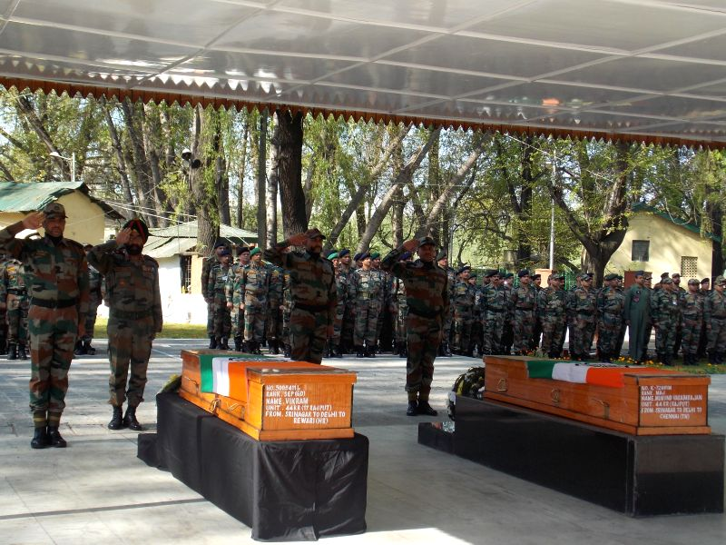 Soldiers pay tribute to Major Mukund Vardarajan and Sepoy Vikram Singh who laid their lives during a joint operation of Army and Jammu and Kashmir police at Karewa Manloo in Shopian district of Jammu - Sepoy Vikram Singh