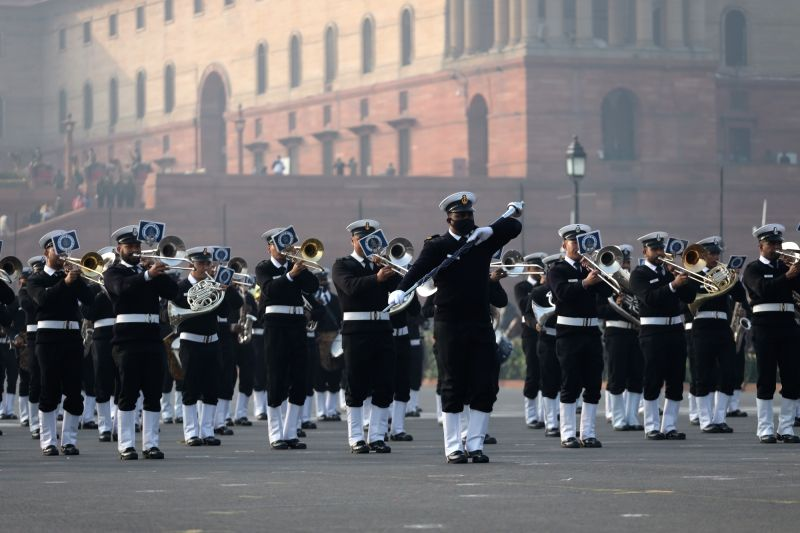 Soldiers rehearse for the Beating Retreat Ceremony at Vijay Chowk ahead of Republic Day, on January 19, 2021 in New Delhi, India