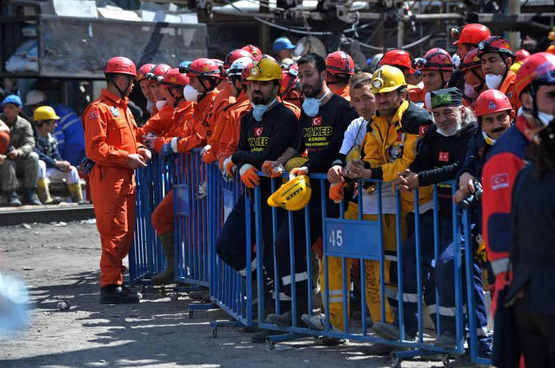 People wait for news outside the mine entrance in Soma, Turkey, May 15, 2014. The death toll of Turkey's coal mine disaster Tuesday has reached 282, making it the ... - Taner Yildiz
