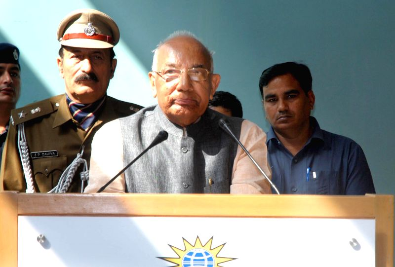 Haryana Governor Kaptan Singh Solanki addresses during a seminar on `Public Policy and Global Governance Security between India-Australia` in Sonipat, Haryana on Feb. 23, 2015. - Kaptan Singh Solanki