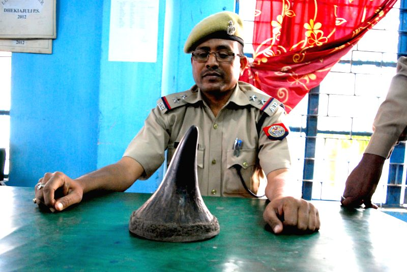 A policeman shows a rhino horn that was recovered from Sonitpur district of Assam on March 21, 2015.