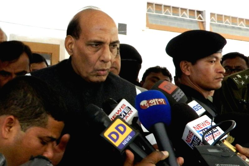 Union Home Minister Rajnath Singh addresses press during his visit to Biswanath Chariali in Assam's Sonitpur district on Dec 25, 2014.
