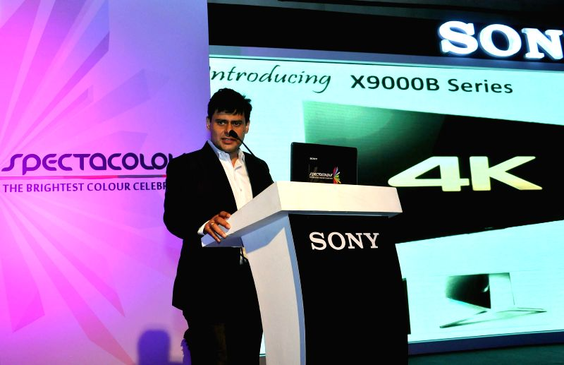 Sony India, Sales Head, Sunil Nayyar addresses during a press conference in Kolkata on Aug 21, 2014.