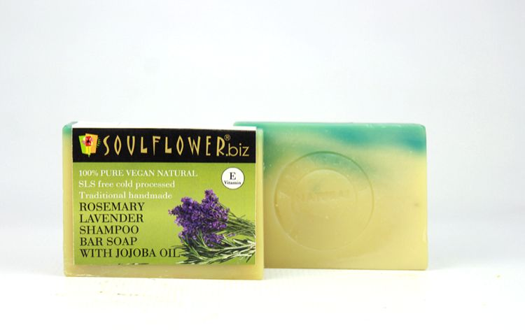 Soulflower Rosemary Lavender Shampoo Bar with Jojoba Oil