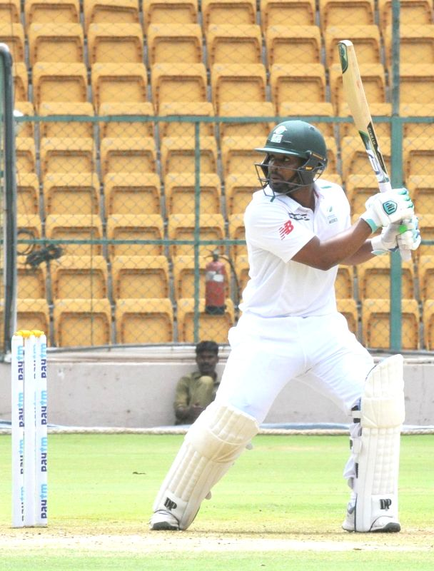 South Africa A skipper Khaya Zondo in action on 1st day of the four day test match between India A and South Africa A at M Chinnaswamy Stadium, in Bengaluru on Aug 4, 2018.