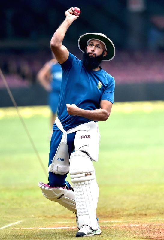 South African cricketer Hashim Amla during a practice session ahead of the 2nd test match against India at Chinnaswamy Stadium, in Bengaluru on Nov. 13, 2015.