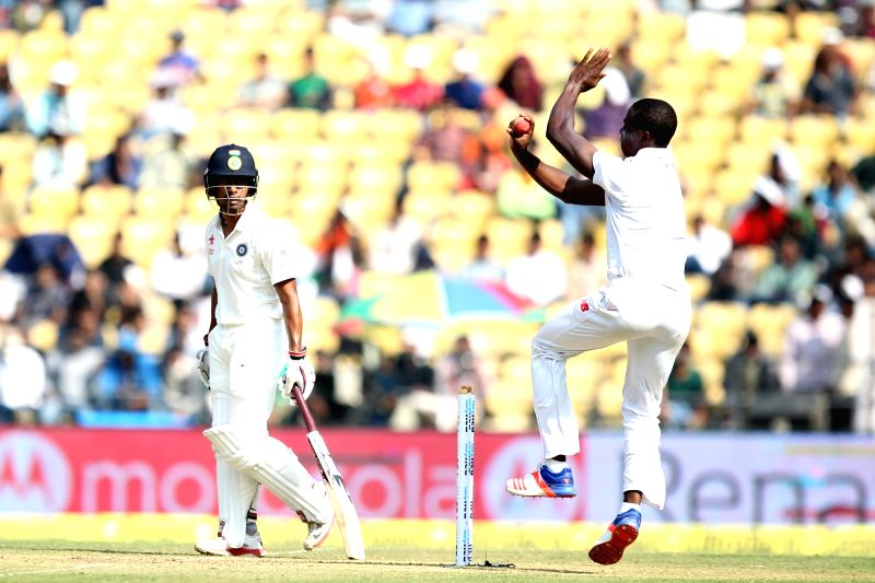 South African cricketer Kagiso Rabada in action during the Day-1 of the third test match between India and South Africa at Vidarbha Cricket Association Stadium in Nagpur  on Nov 25, 2015.