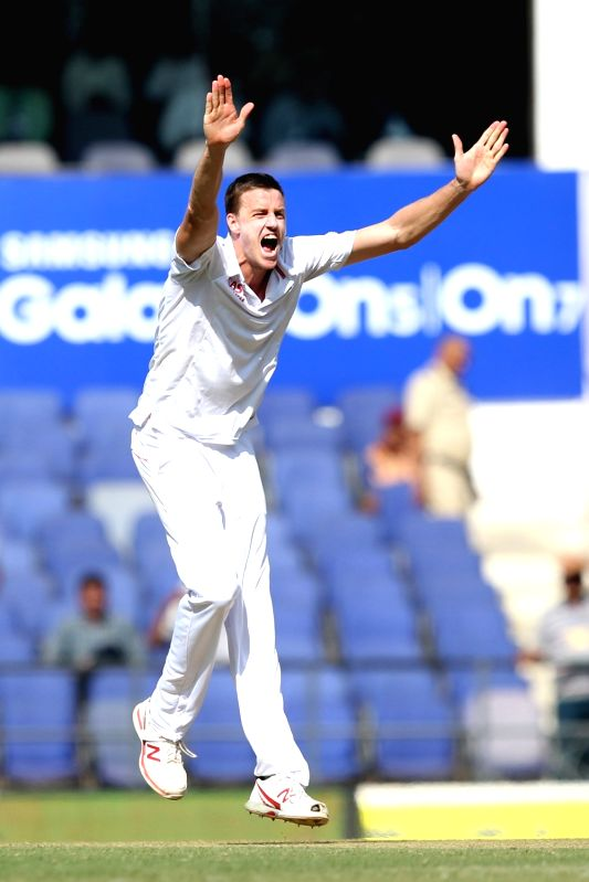 South African cricketer Morne Morkel appeals during the Day-2 of the third test match between India and South Africa at Vidarbha Cricket Association Stadium in Nagpur  on Nov 26, 2015.