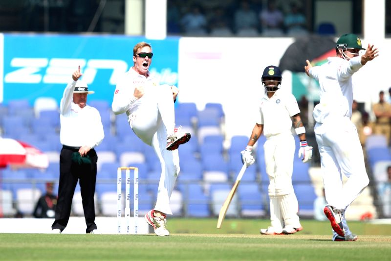 South African cricketer Simon Harmer celebrates fall of a wicket during the Day-1 of the third test match between India and South Africa at Vidarbha Cricket Association Stadium in Nagpur  on ...