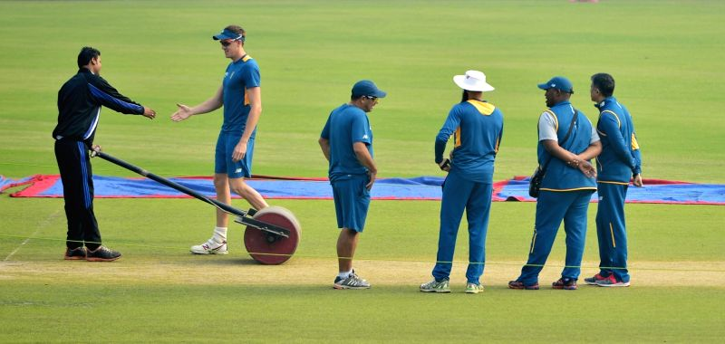 South African cricketers during a practice session ahead of the Fourth Test Match against India at Feroz Shah Kotla Ground in New Delhi on Dec 1, 2015.
