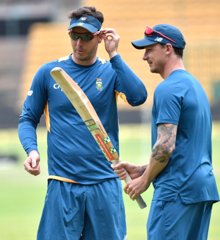 South African cricketers Kyle Aboot and Dale Styn during a practice session ahead of the 2nd test match against India at Chinnaswamy Stadium, in Bengaluru on Nov. 13, 2015.