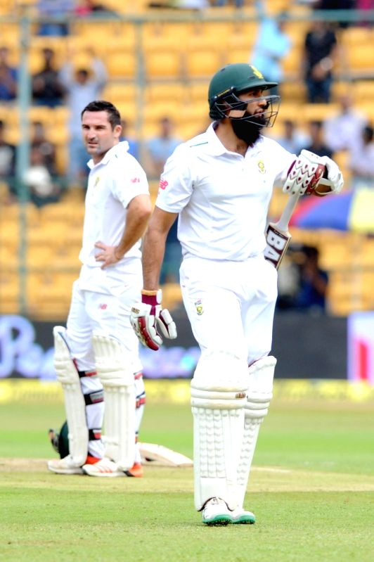 South African player Hashim Amla  during the first day of the second test match between India and South Africa at M Chinnaswamy Stadium in Bengaluru, on Nov 14, 2015.