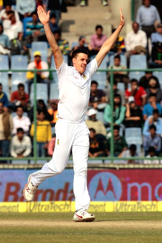South African player Morne Morke celebrates fall of a wicket during the third day of the Fourth and the final test match between India and South Africa at the Feroz Shah Kotla Stadium in ...
