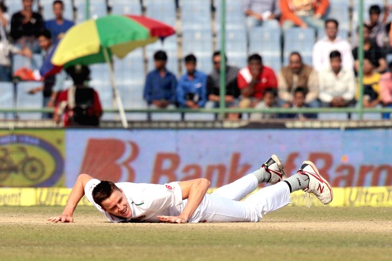 South African player Morne Morke during the third day of the Fourth and the final test match between India and South Africa at the Feroz Shah Kotla Stadium in New Delhi on Dec. 5, 2015.