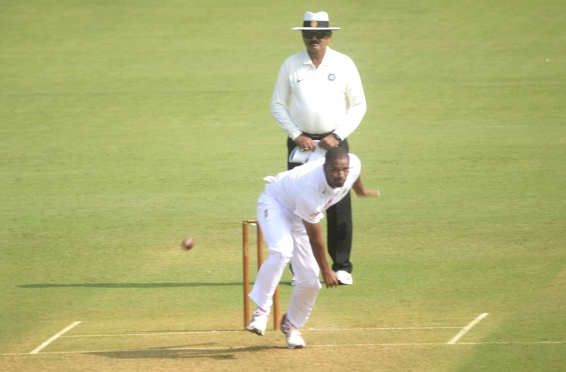 South African player Vernon Philander in action during a match between Indian Board President`s XI and South African at Brabourne Stadium in Mumbai on Oct 30, 2015.