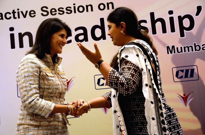 South Carolina (United States) Governor Nikki Haley with Maharashtra Rural Development Minister Pankaja Munde during a CII conference on `Women in Leadership` in Mumbai on Nov 20, 2014. - Pankaja Munde