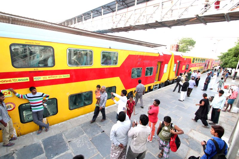South Central Railway's new Air Conditioned Double Decker Bi-Weekly train between Kacheguda – Guntur at Secunderabad station on May 13, 2014.