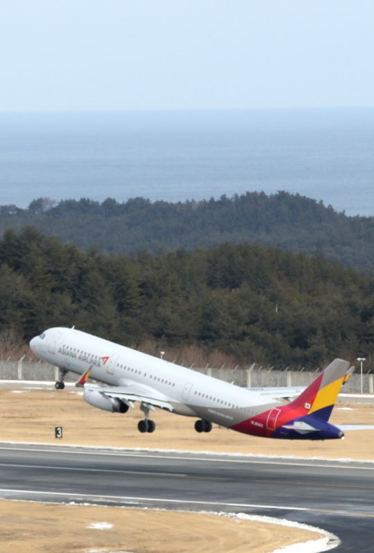 South Korea: A plane carrying a group of South Korean skiers takes off at Yangyang Airport on South Korea's east coast on Jan. 31, 2018, departing for Kalma Airport in North Korea's eastern city of ...