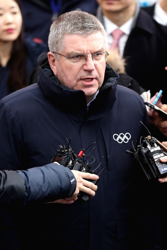 South Korea: International Olympic Committee (IOC) President Thomas Bach speaks to reporters at Jinbu Station in the alpine town of PyeongChang, the venue for the PyeongChang Winter Olympics, on Jan. ...