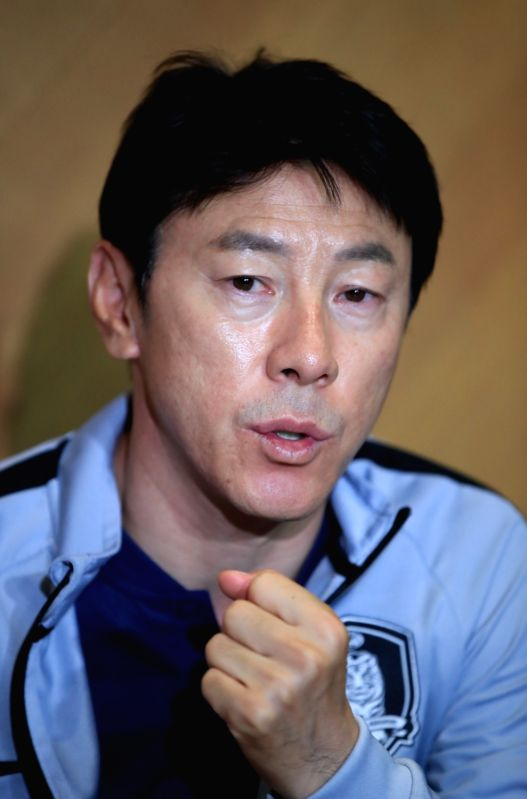 South Korea national football team head coach Shin Tae-yong holds a news conference after losing 2-0 to Senegal in the final pre-World Cup tuneup against Senegal in Grodig, Austria, on June ...