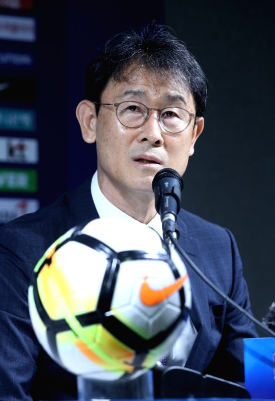South Korea's head coach for the women's football team, Yoon Duk-yeo, holds a press conference in Seoul on July 16, 2018, to announce the 20-member roster for the 2018 Asian Games to be held ...