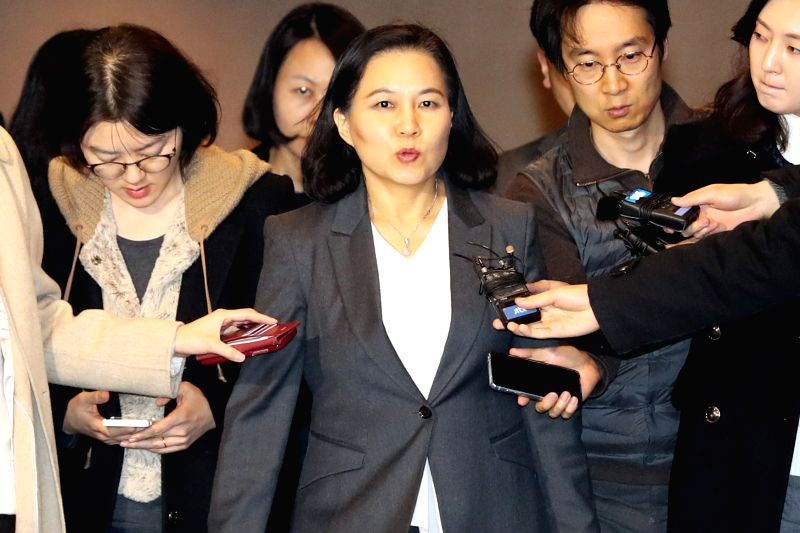 South Korea's top negotiator Yoo Myung-hee leaves the Lotte Hotel in Seoul on Jan. 31, 2018, after wrapping up the first day of the second-round talks on the amendment of the free trade deal ...