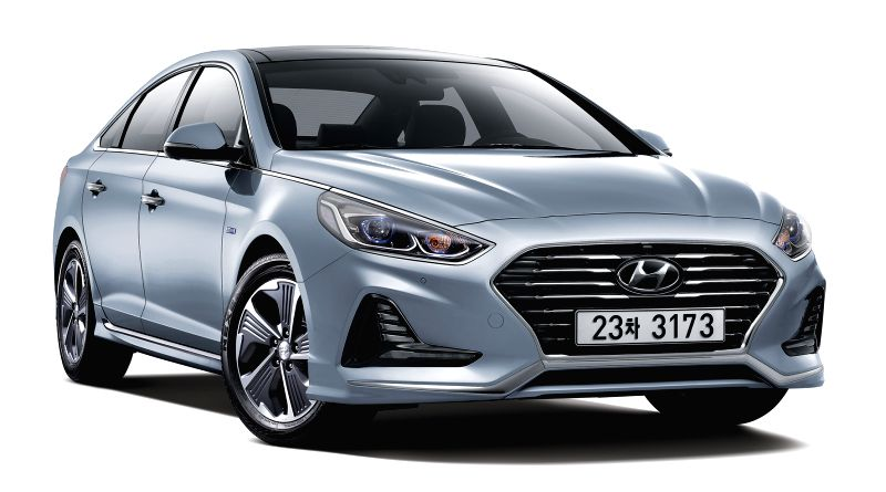 South Korea: Shown is a photo of the hybrid model of the Sonata New Rise, the seventh-generation facelift model launched in March. Hyundai Motor Co. said on May 18, 2017, it started selling the ...