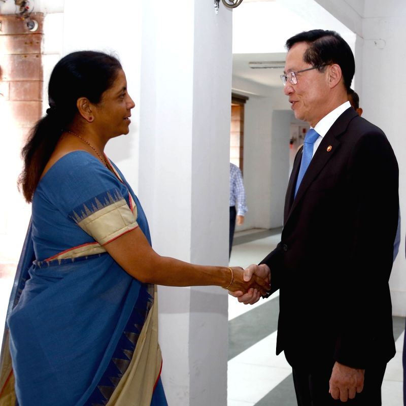 South Korean Defence Minister Song Young-moo calls on Union Defence Minister Nirmala Sitharaman in New Delhi, on Aug 10, 2018. - Song Young