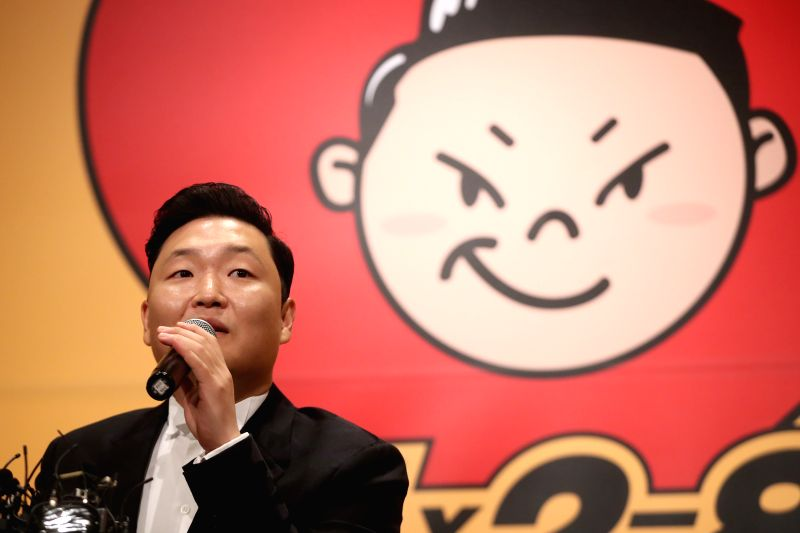 "South Korean singer Psy responds to reporters' questions during a publicity event in Seoul on May 10, 2017 to unveil his eighth album featuring 10 songs, including the title track ""New ..."