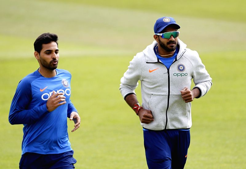 Southampton: India's Bhuvneshwar Kumar and Vijay Shankar during a practice session ahead of a World Cup 2019 match against Afghanistan at the Hampshire Bowl in Southampton, England on June 20, 2019. (Photo: Surjeet Yadav/IANS)