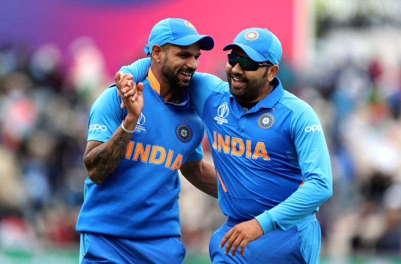 Southampton: India's Shikhar Dhawan and Rohit Sharma during the 8th match of 2019 World Cup between India and South Africa at The Rose Bowl in Southampton, England on June 5, 2019. (Photo: Surjeet Yadav/IANS)