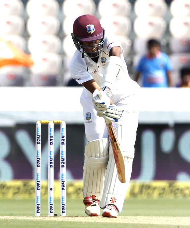 Southampton, July 10 (IANS) Opener Kraigg Brathwaite slammed a fine half-century in the first session as West Indies slowly and steadily edged towards England's first innings score on the third day of first #raisethebat Test at Ageas Bowl in Southamp