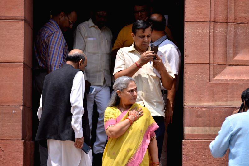 SP MP Jaya Bachchan at Parliament, in New Delhi on Aug 9, 2018. - Jaya Bachchan