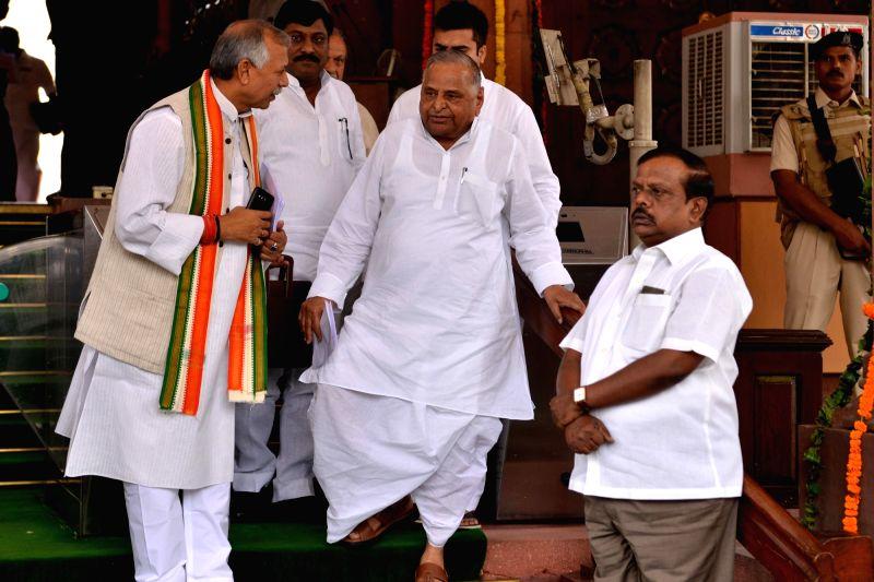 SP MP Mulayam Singh Yadav at Parliament, in New Delhi on Aug 1, 2018. - Mulayam Singh Yadav