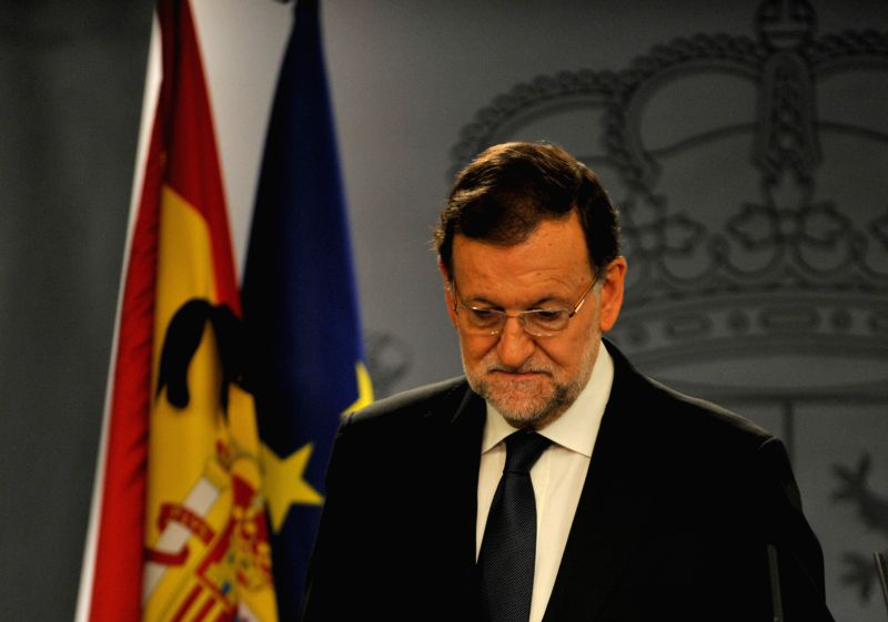 Spain's Prime Minister Mariano Rajoy gives a speech in a press conference in the Palace of La Moncloa in Madrid, Spain, Nov. 14, 2015. Rajoy said Spain is solidarity ... - Mariano Rajoy