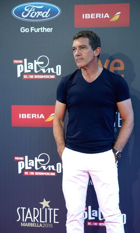 Spanish actor Antonio Banderas poses for photographers during a press conference ahead the Latin American Cinema Awards handover ceremony in Marbella, Malaga, southeastern Spain, 17 July ...
