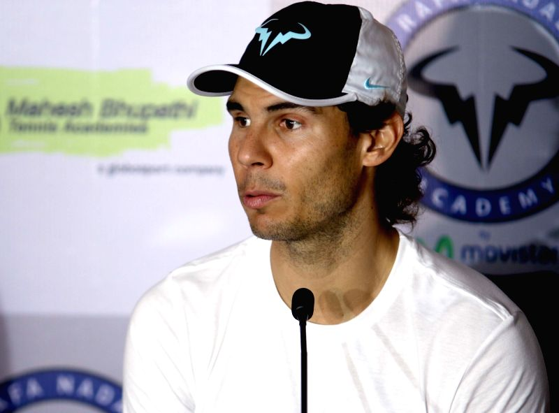 Spanish professional tennis player Rafael Nadal addresses a press conference in New Delhi on Dec 10. 2015.