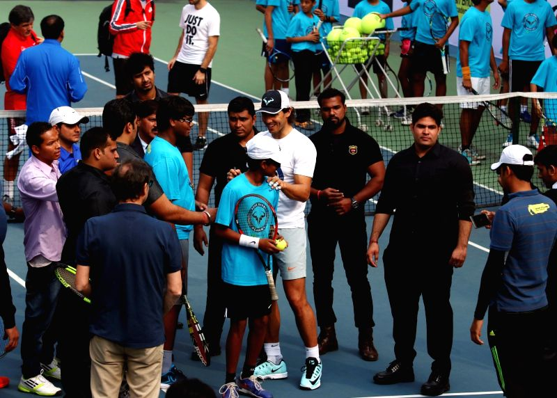Spanish professional tennis player Rafael Nadal during  the inauguration of the Rafa Clinic in New Delhi on Dec 10. 2015.