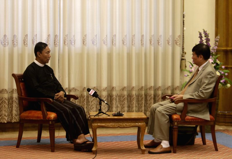 Speaker of Myanmar's Union Parliament and House of Representatives U Shwe Mann (L) receives an exclusive interview with Xinhua News Agency in Nay Pyi Taw, ...
